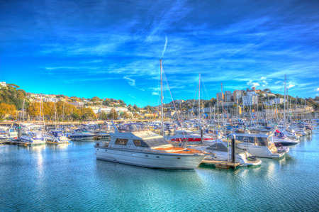 Torquay Devon UK marina with boats and yachts on beautiful day on the English Riviera in colourful HDR