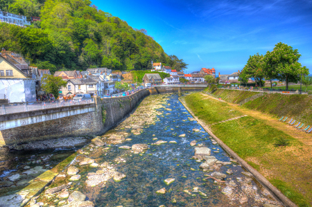 lyn: Lynmouth Devon UK river in town in colourful hdr Stock Photo