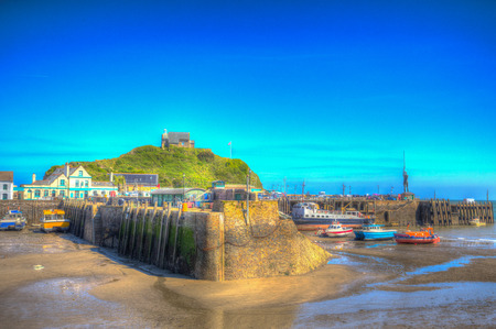 Ilfracombe harbour Devon coast in colourful hdr Stock Photo