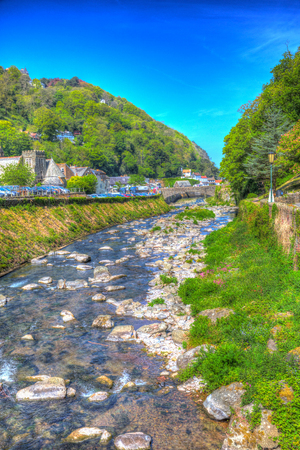 lynmouth: Lynmouth Devon view towards town and river England UK Stock Photo