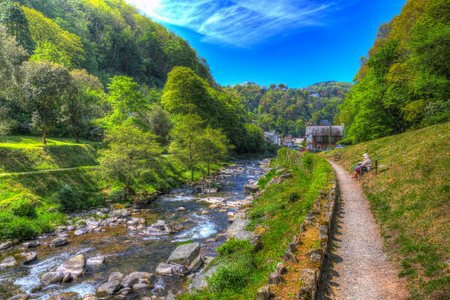 lyn: Lynmouth Devon walk to Watersmeet along the river England UK Stock Photo