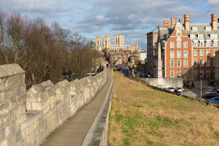York UK famous city walls in historic Yorkshire England with view towards York Minster