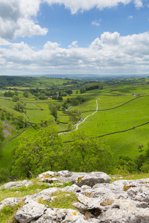 Malham Cove view from the top Yorkshire Dales National Park UK