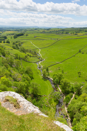 Malham Cove view from walk to top of the tourist attraction in Yorkshire Dales National Park UK Stock Photo