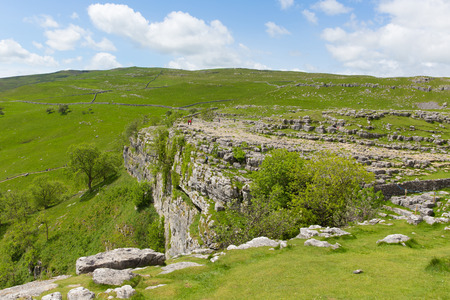 Malham Cove Yorkshire Dales National Park UK the rocky top of the cliff at the popular tourist attraction