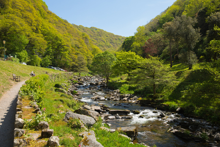 lynmouth: Lynmouth Devon walk to Watersmeet along the river England UK Stock Photo