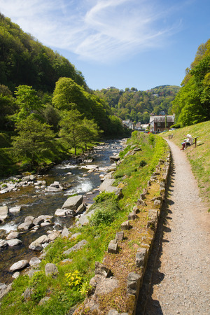 lynmouth: Path to Lynmouth Devon walk to Watersmeet along the river England UK