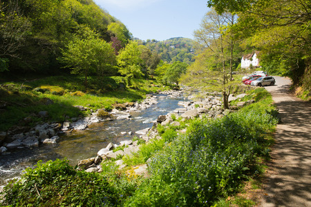 lynmouth: Path to Lynmouth Devon from walk to Watersmeet along the river England UK