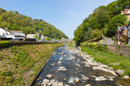 lynmouth: Lynmouth Devon England UK river running through the town beautiful spring sunshine Editorial