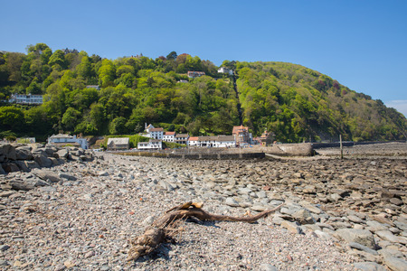 lynmouth: Lynmouth Devon England UK beach harbour and  hillside railway