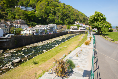 lynmouth: LYNMOUTH, DEVON, ENGLAND, UK-MAY 10TH 2017: Beautiful spring sunshine and clear blue skies were enjoyed by visitors to Lynmouth, Devon, on Wednesday 10th May 2017