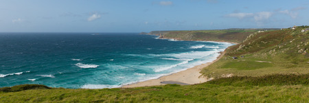 Sennen Cove Cornwall beach and coast near Land`s End tourist attraction the first village to the north panoramic view Stock Photo