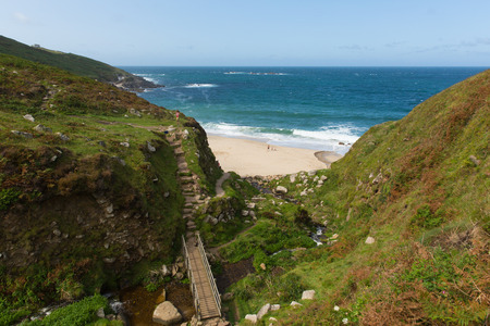 Coast path Portheras Cove Cornwall located South West of St Ives between Pendeen and Morvah