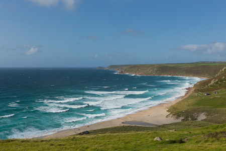 Sennen Cove Cornwall coast near Land`s End tourist attraction the first village to the north with blue sky