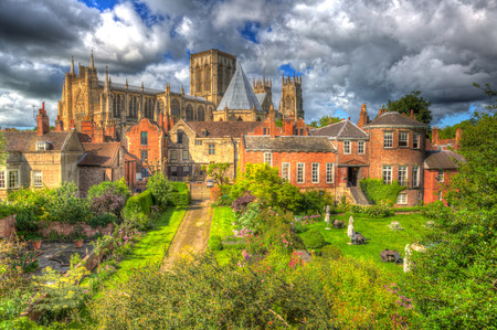 York Minster rear view from the City Walls of the historic cathedral and UK tourist attraction in colourful hdr