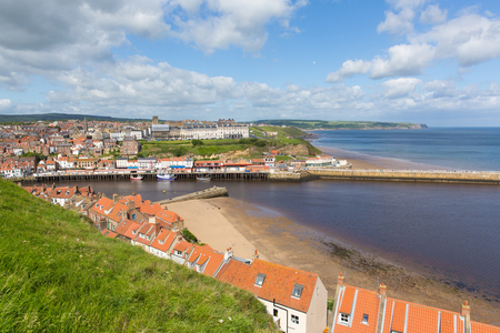Whitby North Yorkshire England uk seaside town and coast view Banco de Imagens