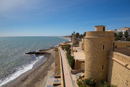 Coast path and Roquetas del Mar castle de Santa Ana Costa de Almería, Andalucía Spain Stock Photo