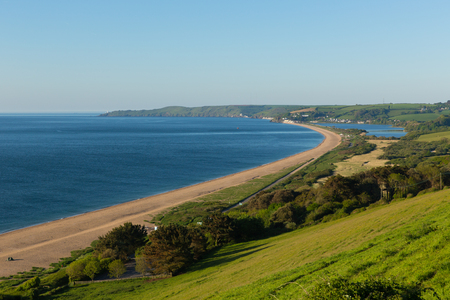 Slapton Sands beach and coast Devon England UK used by US Army in preparation for the D-Day landings in Exercise Tiger