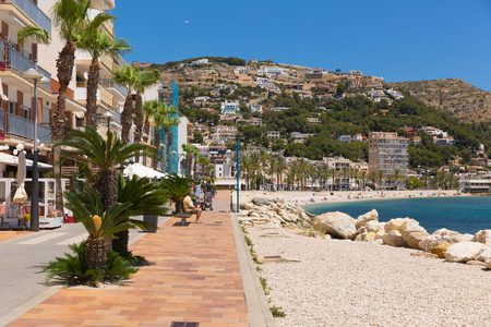 Javea Spain with beautiful Platja de la Grava beach in summer with blue sky and sea, also known as Xabia Editorial