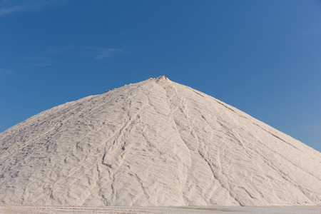 Too much salt on your food?  Store of processed salt ready to be bagged and distributed Stock Photo