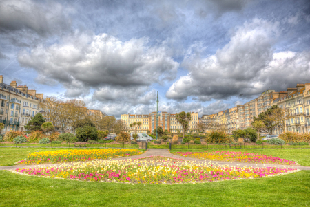 Warrior Square Hastings with beautiful flowers and buildings East Sussex UK in hdr