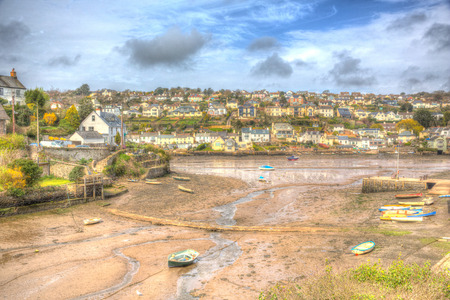 Newton Ferrers Devon south east of Plymouth viewed from Noss Mayo in colourful HDR 版權商用圖片