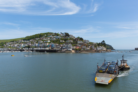 Dartmouth Devon view of Kingswear and car ferry across the River Dart in beautiful spring weather Фото со стока