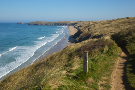 South west coast path view to Perran sands beach near Perranporth North Cornwall England 写真素材
