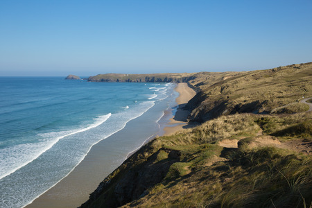 Penhale sands beach and coast Perranporth North Cornwall England UK viewed from the south west coast path Stock Photo