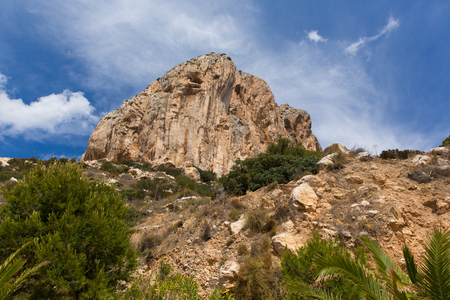 Calp Costa Blanca Spain view up to the famous rock from the walk below