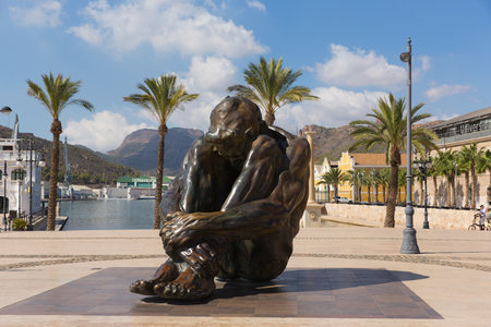 Cartagena Spain statue To Victims of Terrorism in busy Spanish port city