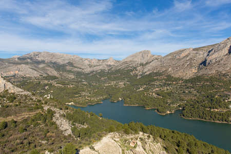 Guadalest Spain beautiful lake and mountain view from historic castle