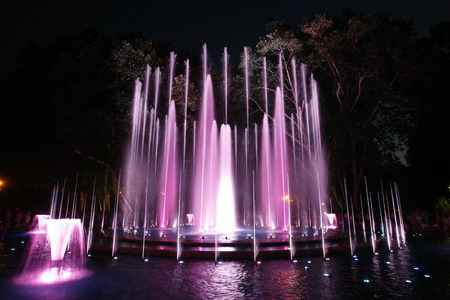 Multimedia colorful musical and light fountain in  Margaret Island Budapest 스톡 콘텐츠