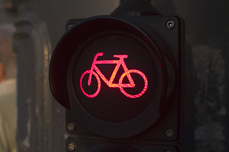 Red light for bycicle lane on a traffic light photo