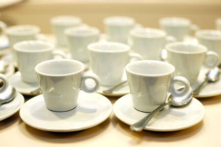 Empty white coffee cups photo