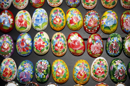 crafted: Hand Crafted Wooden Easter Eggs On Black Background