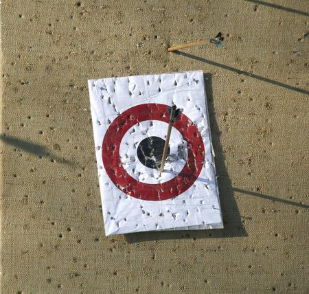 missed: Arrow range field practice target. Arrows missed target Stock Photo