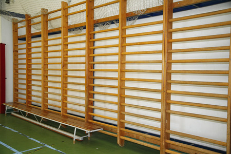 wall bars: Wooden wall bars in the school gym