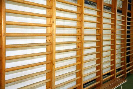 school gym: Wooden wall bars in the school gym