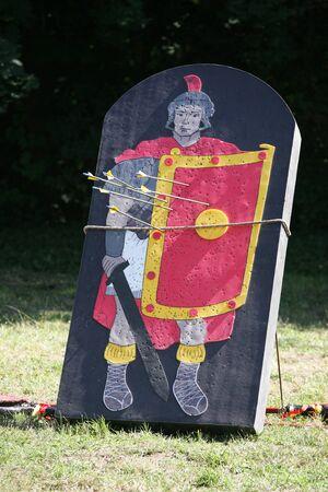 swordsman: Roman legionary as a target part of a combat show