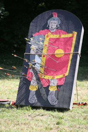 amphitheatre: Roman legionary as a target part of a combat show