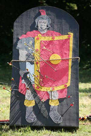 legionary: Roman legionary as a target part of a combat show