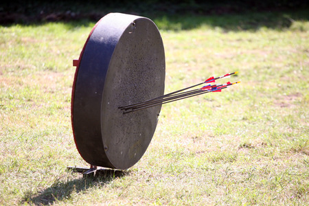 Historical medieval archery target on a warrior show Stock Photo