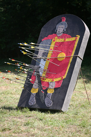 legionary: Roman legionary as a target part of a combat show