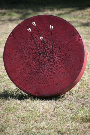 weaponry: Historical medieval archery target on a warrior show Stock Photo