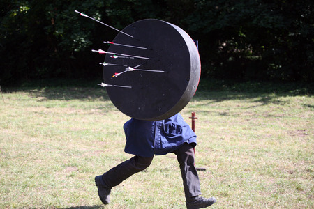 Unknown warrior on a historical medieval combat show