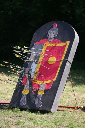 Roman legionary as a target part of a combat show