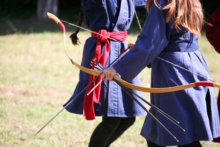 Unknown warrior girls on a historical medieval combat show Stock Photo