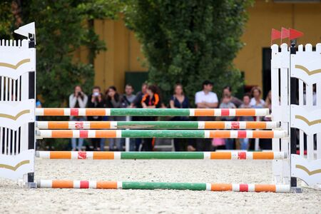 horse jumping: Equitation obstacles barriers during a horse jumping competition