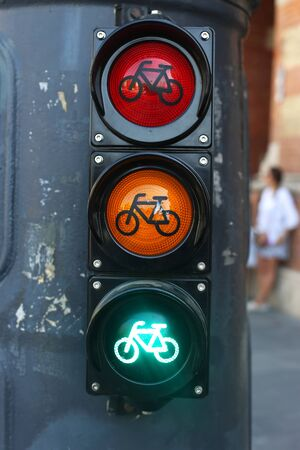 red traffic light: All three lights as a traffic sign in the city